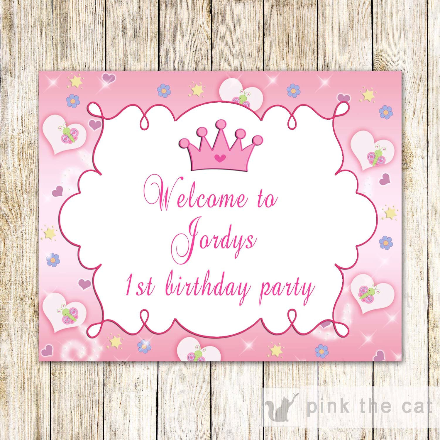 Princess Welcome Sign Birthday Baby Shower Editable INSTANT DOWNLOAD ...