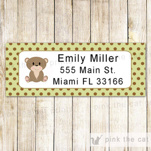 Bear Address Labels Green Brown Birthday Baby Boy Shower