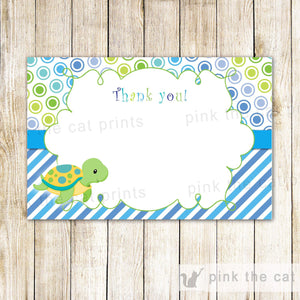 INSTANT DOWNLOAD Ocean Sea Turtle Birthday Party Thank You Card Note - Blue Green Polka Stripes Birthday Party Favor Baby Shower Blank
