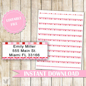 Valentines Address Labels - Pink Red Stripes Hearts Kids Birthday Baby Girl Shower Editable File INSTANT DOWNLOAD