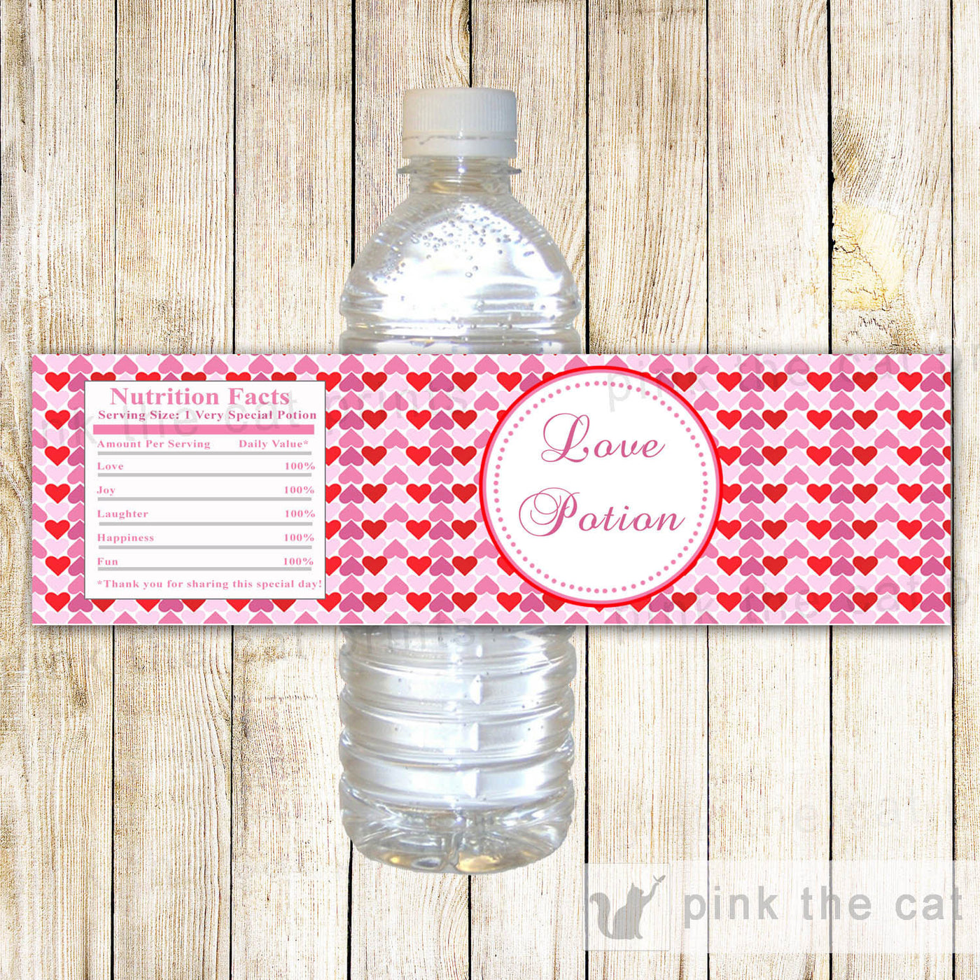 Valentines Hearts Water Bottle Labels Love Potion Printable Pink The Cat