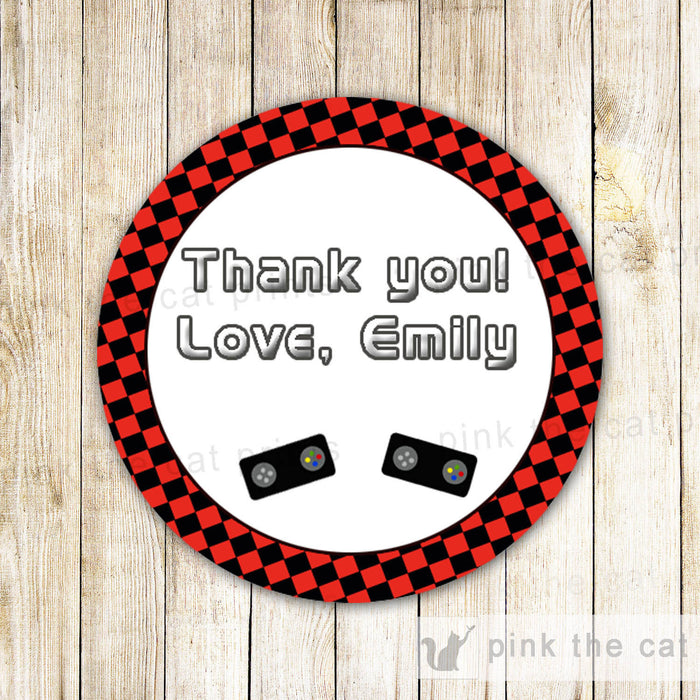 Video Game Favor Label Gift Tag Stickers Kids Birthday Boy Girl Red Black