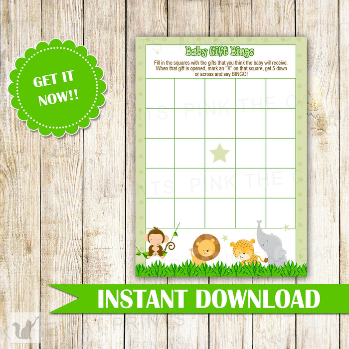 Green Jungle Bingo Card Baby Shower