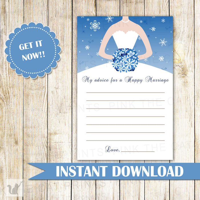 Winter Bridal Shower Advice Card Blue