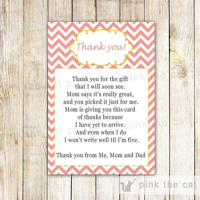 Coral Chevron Thank You Card Note Baby Girl Shower Pink Blush Yellow