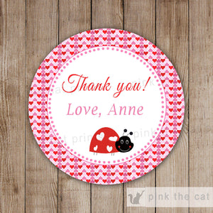 Ladybug Favor Label Gift Tag Heart Sticker Baby Shower Girl Birthday