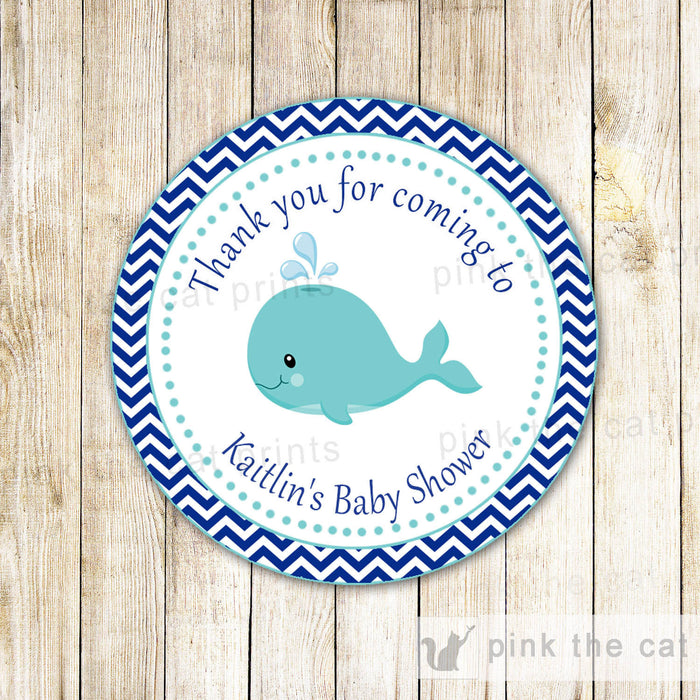 Whale Nautical Favor Label Gift Tag Sticker Boy Birthday Baby Shower