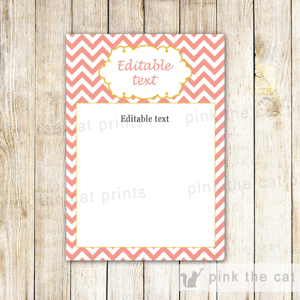 Coral Chevron Invitation Thank You Card Note Baby Shower Birthday Blank