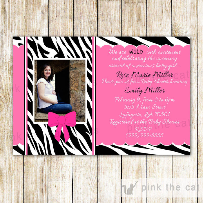 Zebra Invitation Baby Girl Shower Photo Card Pink Ribbon