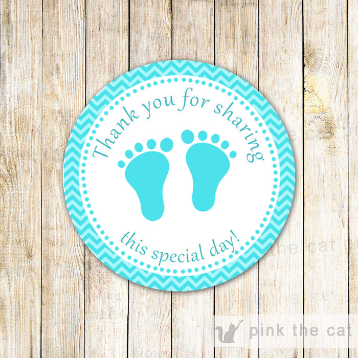 Chevron Turquoise Favor Label Sticker Gift Tag Baby Shower
