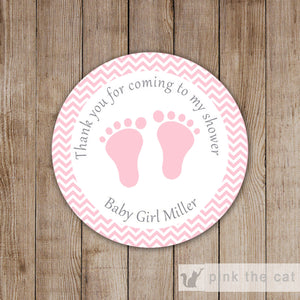Chevron Pink Gift Favor Labels Sticker Tags Baby Girl Shower