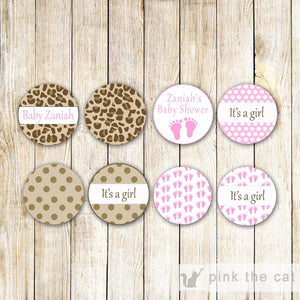 Leopard Baby Girl Shower Small Candy Label Sticker