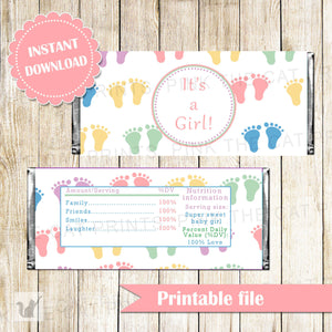 Baby Girl Shower Candy Bar Label Wrapper Pink Purple Yellow Feet