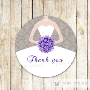 Purple Grey Damask Bridal Shower Thank You Tag - Quinceanera or Sweet 16 Party Favor INSTANT DOWNLOAD