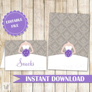 Buffet Food Label Wedding Place Seating Name Card Purple Grey Dress