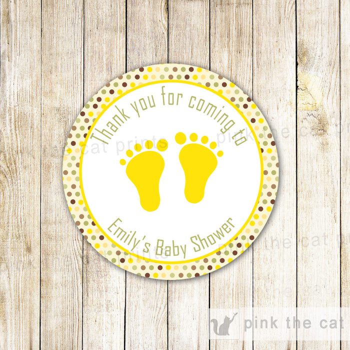 Yellow Brown Gift Tag Sticker Favor Label Unisex Baby Shower