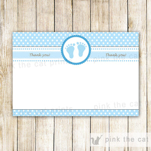 Blue White Polka Dots Thank You Card Note Baby Boy Shower