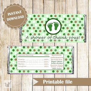 Unisex Baby Shower Candy Bar Label Wrapper Green Gold