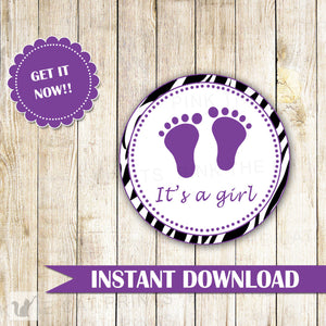 Zebra Favor Labels or Gift Tags - Animal Pattern Diva Baby Girl Shower Purple Printable INSTANT DOWNLOAD