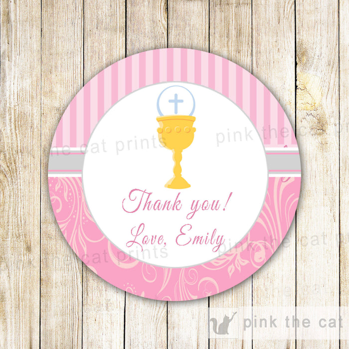 Chalice Girl First Holy Communion Favor Label Tag Sticker Pink Grey
