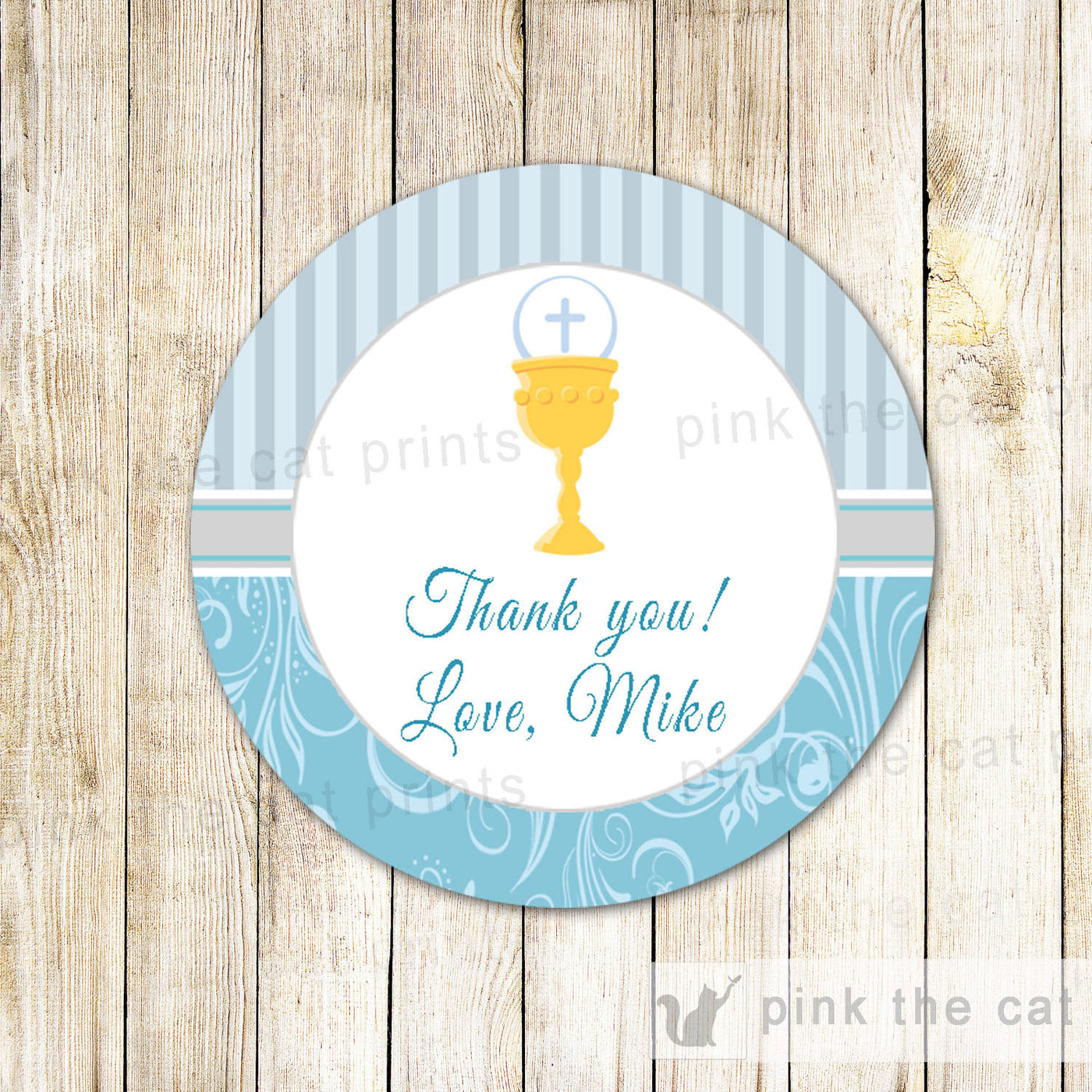 Blue Chalice Boy First Holy Communion Gift Favor Labels Tag – Pink The Cat