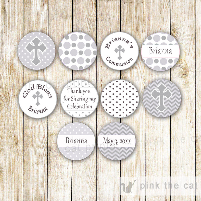 Grey Small Candy Label Sticker Baptism Christening
