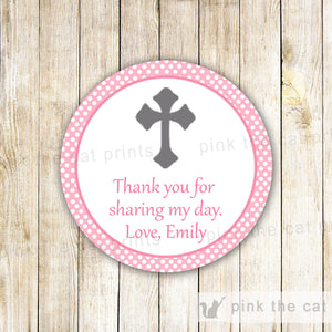 Pink Dots Girl Christening Baptism Communion Thank You Tag Favor Label