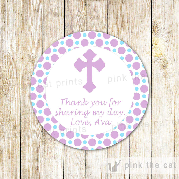 Purple Blue Girl Christening Baptism Communion Thank You Tag Favor Label