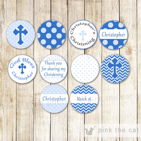 Blue Small Candy Label Sticker Confirmation Communion