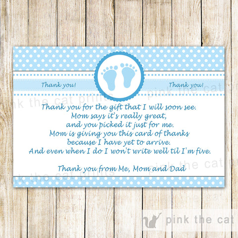 Baby Boy Shower Thank You Card Note Blue White Polka Dots