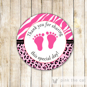 Baby Girl Shower Thank You Label Sticker Tag Hot Pink Black Zebra