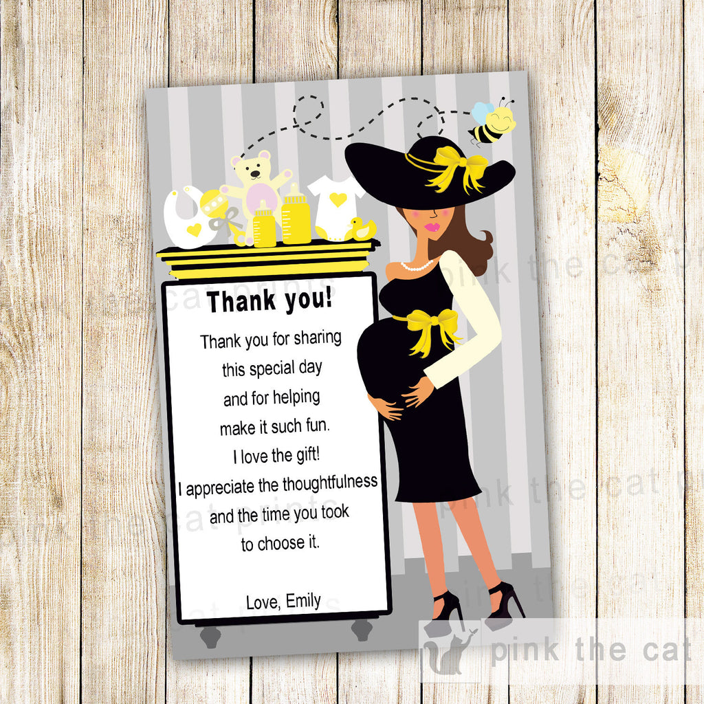 Bee Thank You Card Note Gender Reveal Baby Shower Pregnant Woman Gifts
