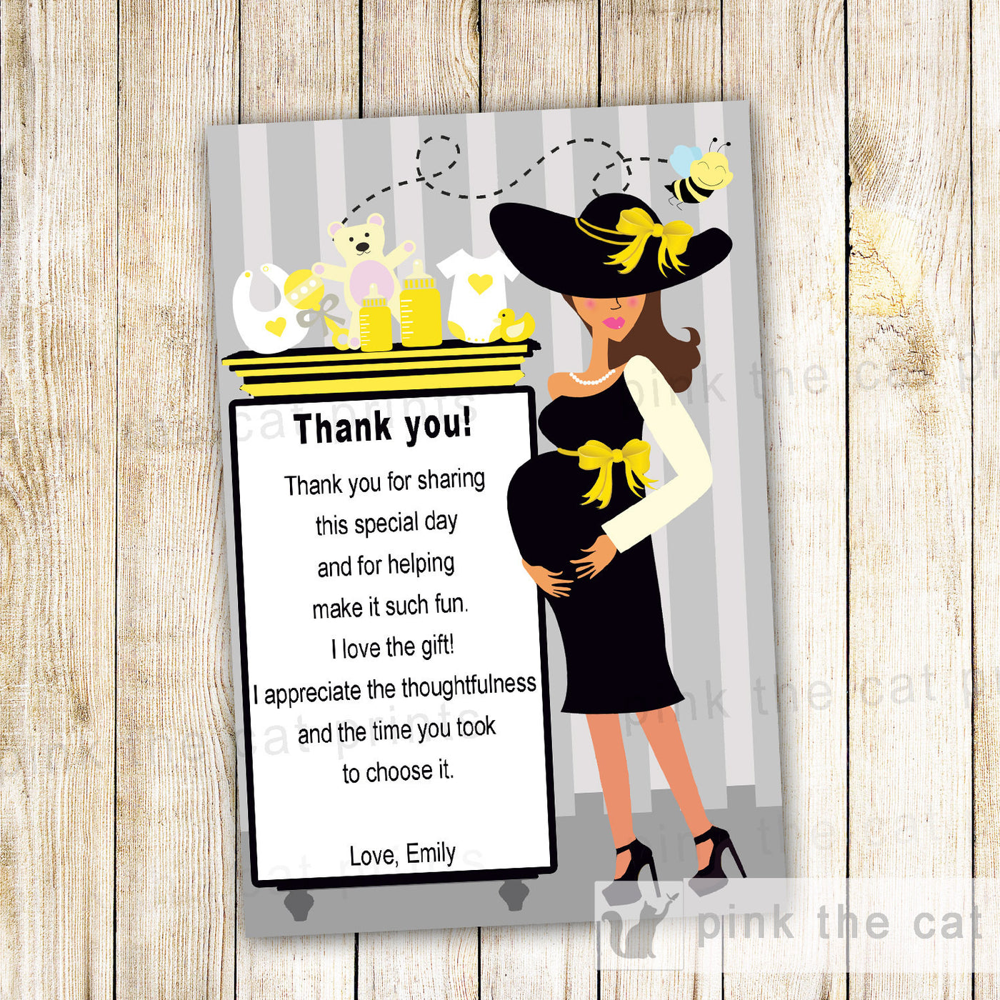 ed5b90b6c257a Bee Thank You Card Note Gender Reveal Baby Shower Pregnant Woman Gifts –  Pink The Cat