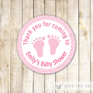 Pink Polka Dots Baby Girl Shower Thank You Tag Label Sticker