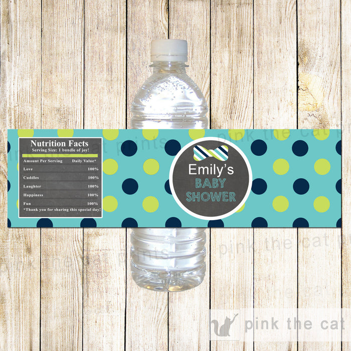 Bow Tie Chalkboard Baby Shower Bottle Label