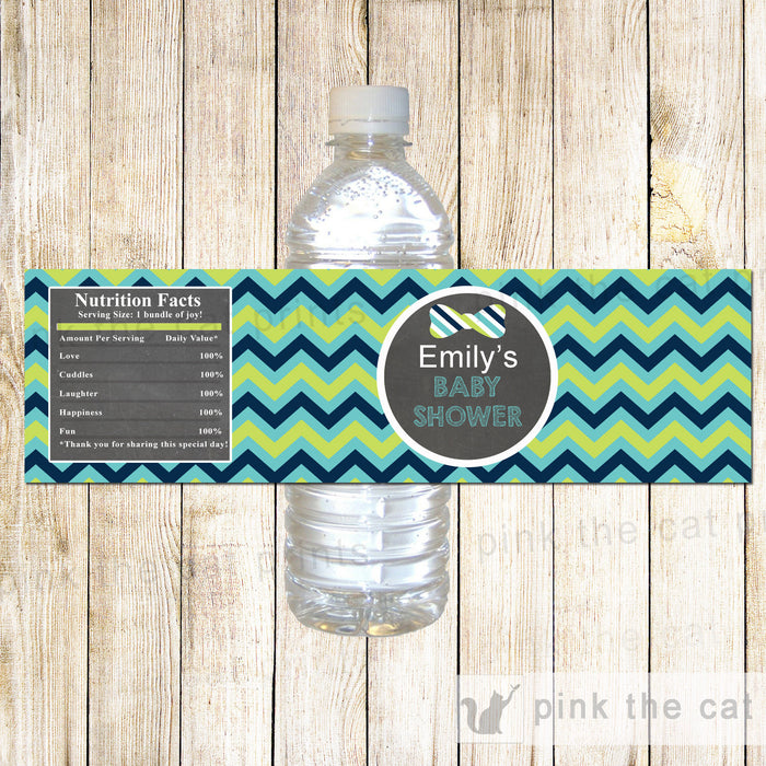 Bow Tie Chalkboard Bottle Label Teal Navy Blue Birthday Baby Shower