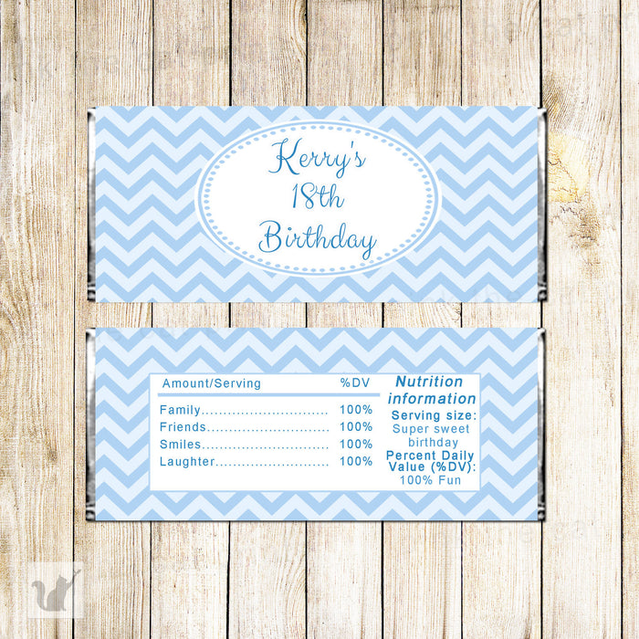 Blue Chevron Candy Bar Wrapper Label Birthday Baby Shower