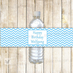 Blue White Chevron Bottle Label Birthday Baby Shower