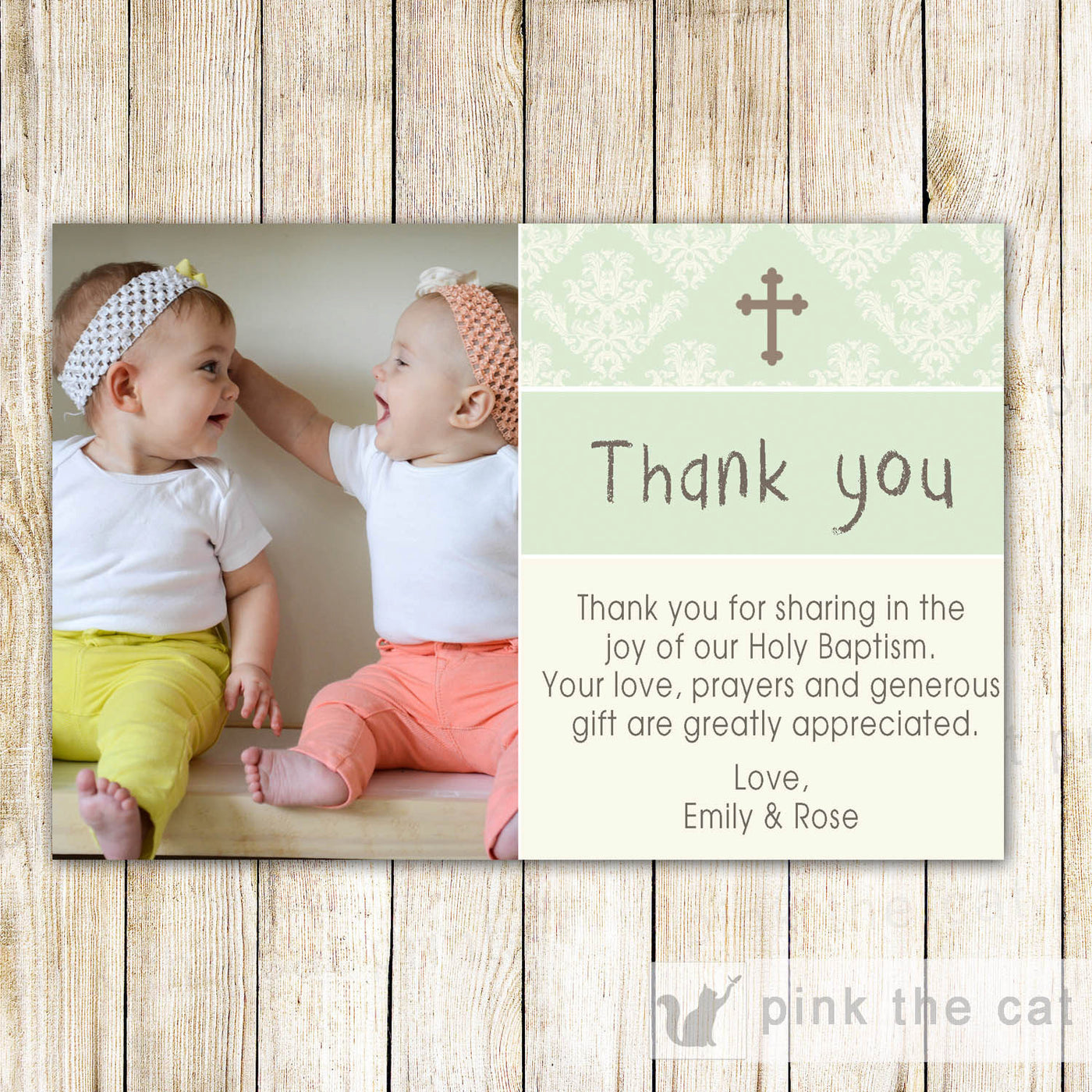 Twins Baptism Christening Thank You Note Photo Card Green Pink The Cat