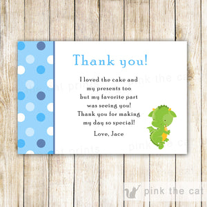 Dragon Thank You Card Blue Green Baby Boy Shower Birthday