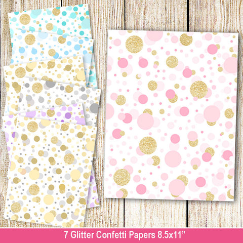 7 Glitter Confetti Metallic Background Paper Pink Blue Gold