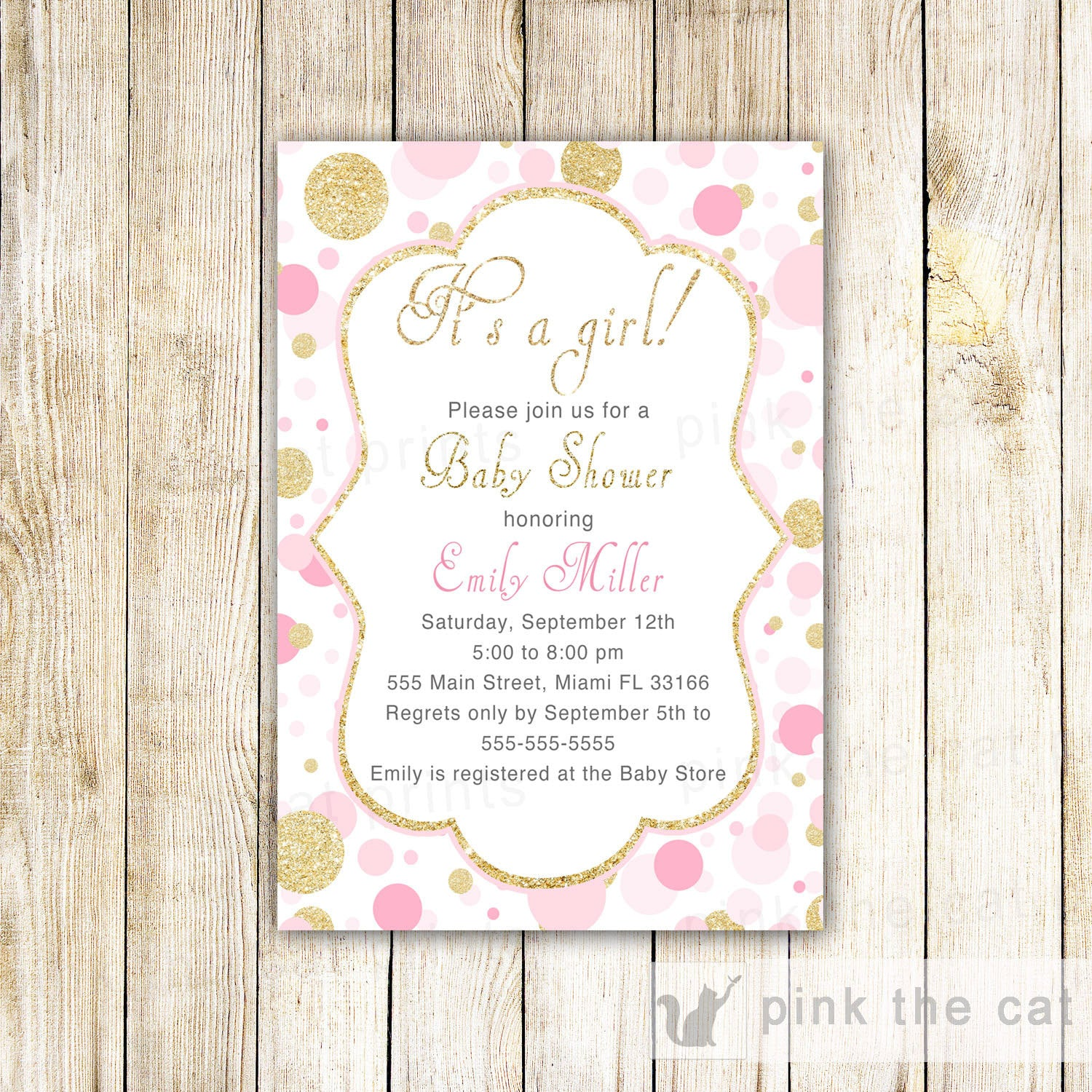 Confetti Invitation Pink Gold Glitter Baby Shower Editable INSTANT ...