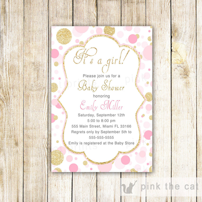 Confetti Invitation Pink Gold Glitter Baby Shower Editable INSTANT DOWNLOAD