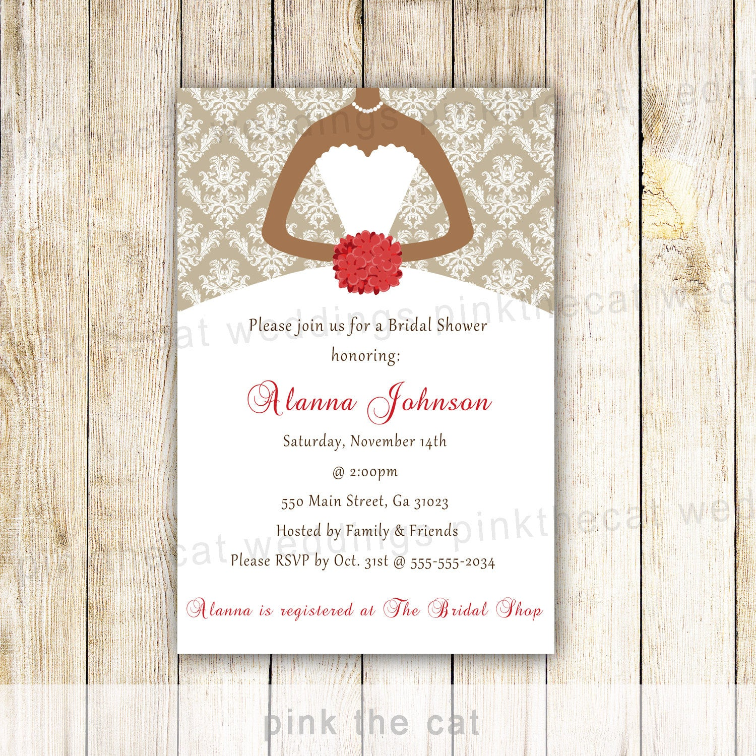 Bridal Shower Dress Invitation Red Gold African American – Pink The Cat