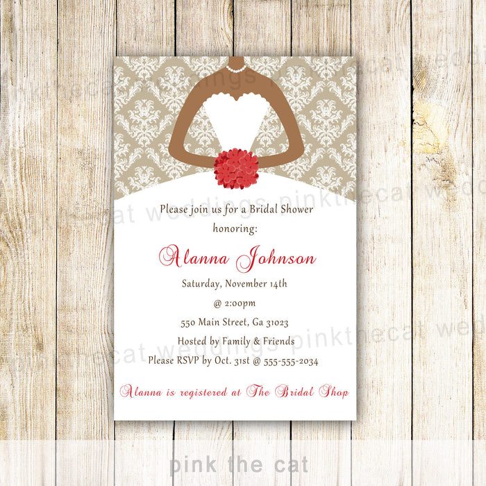 Bridal Shower Dress Invitation Red Gold African American