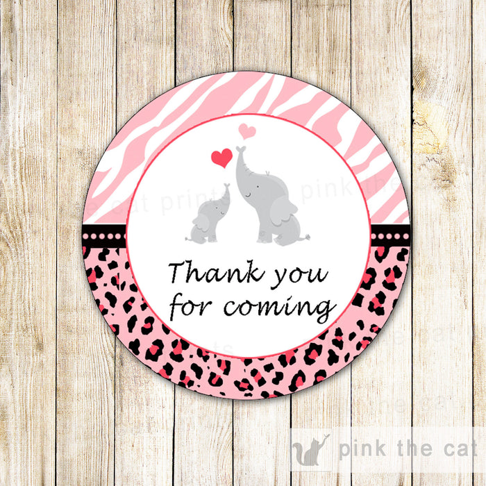 Elephant Thank You Label Baby Girl Shower Gift Favor Tag Zebra Pink