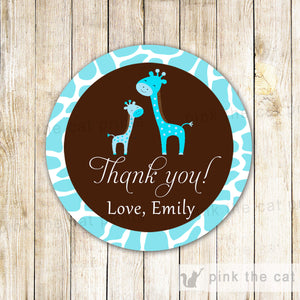 Giraffe Thank You Tag Sticker Favor Label Baby Shower Teal Brown