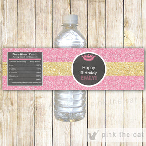 Princess Bottle Label Baby Shower Birthday Glitter Pink