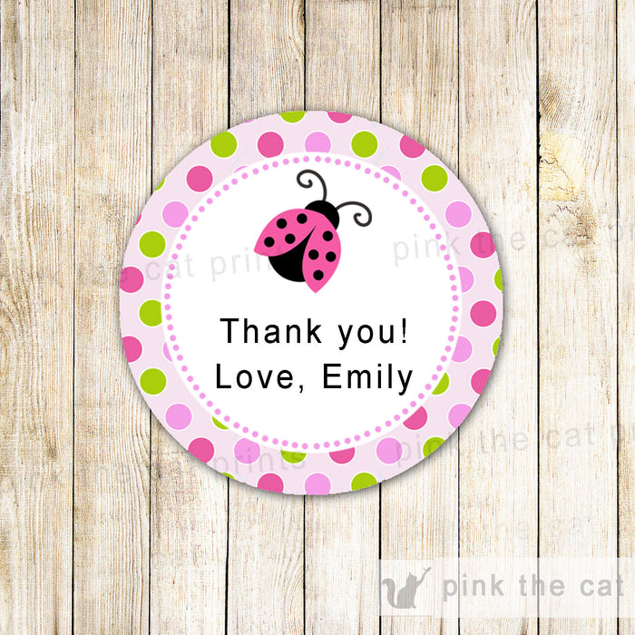 Little Ladybug Thank You Labels - Gift Favor Tags Baby Girl Shower Pink Green Party Favors INSTANT DOWNLOAD