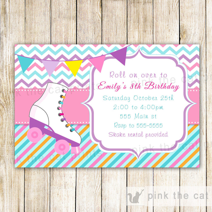 Roller Skating Invitation Girl Birthday Party